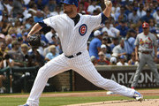 Jon Lester #34 of the Chicago Cubs pitches against the St. Louis Cardinals during the first inning on July 22, 2017 at Wrigley Field  in Chicago, Illinois.