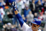 Anthony Rizzo #44 of the Chicago Cubs celebrates rounding the bases after hitting a three run home run in the third inning against the St. Louis Cardinals at Wrigley Field on May 03, 2019 in Chicago, Illinois.