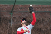 Matt Holliday #7 of the St. Louis Cardinals makes a catch against the Chicago Cubs at Wrigley Field on April 8, 2015 in Chicago, Illinois. The Cubs defeated the Cardinals 2-0.