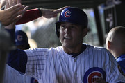Anthony Rizzo #44 of the Chicago Cubs is greeted after scoring against the St. Louis Cardinals during the sixth inning during game two of a doubleheader on July 21, 2018 at Wrigley Field  in Chicago, Illinois.