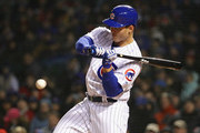 Anthony Rizzo #44 of the Chicago Cubs bats against the St. Louis Cardinals at Wrigley Field on April 17, 2018 in Chicago, Illinois. The Cardinals defeated the Cubs 5-3.