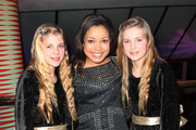 (UK TABLOID NEWSPAPERS OUT) (L-R) Holly Mackie, Dionne Bromfield and Cloe Mackie attend the world premiere afterparty of St Trinian's 2: The Legend Of Fritton's Gold held at Quaglinos on December 9, 2009 in London, England.