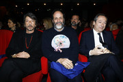 """Pierpaolo Piccioli, Luca Guadagnino and Stefano Sassi attend the launch of Luca Guadagnino's """"The Staggering Girl"""", streaming worldwide on MUBI from February 15, 2020 at Relais Christine and Christine Cinema Club on January 21, 2020 in Paris, France."""