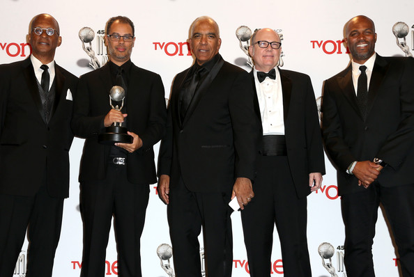 45th NAACP Image Awards Presented By TV One - Press Room [event,suit,premiere,formal wear,tuxedo,team,white-collar worker,producers,stan lathan,tim gibbons,real husbands of hollywood ralph farquhar,l-r,room,press room,pasadena civic auditorium,tv one,naacp image awards]