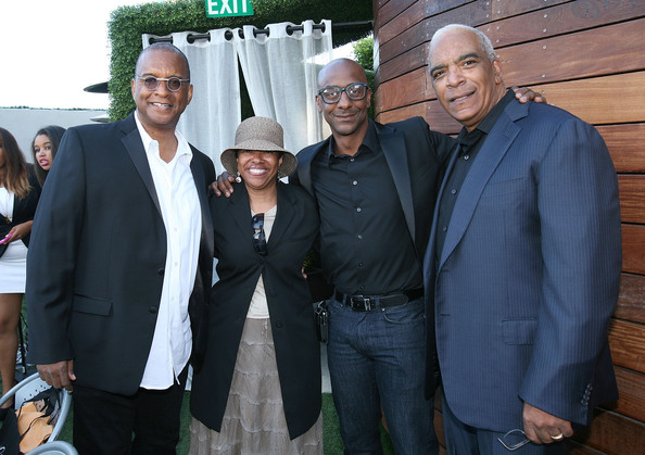 'Real Husbands of Hollywood' Wrap Dinner [real husbands of hollywood,event,suit,white-collar worker,ralph farquhar,stan lathan,joanna morris stephen g. hill,wrap dinner,l-r,california,los angeles,xen lounge,bet]