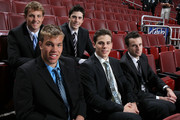 (L-R) NHL top prospects Cam Fowler, Taylor Hall, Erik Gudbranson, Tyler Seguin and Brett Connolly pose before Game Four of the 2010 NHL Stanley Cup Final at Wachovia Center on June 4, 2010 in Philadelphia, Pennsylvania.