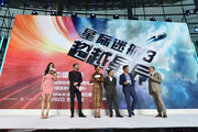 "Actress Betty Zhou, Actor Zachary Quinto, Actress Zoe Saldan, Director Justin Lin, Actor Chris Pine and Actor Simon Peg (L-R) attend the press conference of the Paramount Pictures title ""Star Trek Beyond"", on August 18, 2016 at Indigo Mall in Beijing, China."