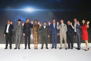"Singer Jason Zhang (L2), Zachary Quinto (L3), Zoe saldana  (L4), DIrector Justin Lin  (L5), Chris Pine (L6), Simon Pegg (R4), Rob Moore (R2) attend the press conference of the Paramount Pictures title ""Star Trek Beyond"", on August 18, 2016 at Indigo Mall in Beijing, China."