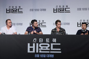"(L-R) Actors Simon Pegg, Zachary Quinto, Chris Pine and director Justin Lin attend the Press Conference and Photocall in advance of the Fan Screening of the Paramount Pictures title ""Star Trek Beyond,"" on August 16, 2016 at Grand Intercontinental Hotel in Seoul, South Korea."