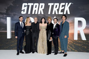 "Harry Treadaway, Jeri Ryan, Sir Patrick Stewart, Isa Briones, Michelle Hurd, Jonathan Del Arco and Evan Evagora attend the ""Star Trek Picard"" UK Premiere at Odeon Luxe Leicester Square on January 15, 2020 in London, England."
