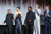 (L-R) Actors Mark Hamill, Daisy Ridley, John Boyega, Gwendoline Christie and Domhnall Gleeson at Star Wars: The Last Jedi Premiere at The Shrine Auditorium on December 9, 2017 in Los Angeles, California.