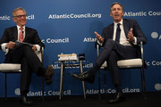 """Executive Chairman of Starbucks Corporation Howard Schultz (R) participates in a discussion with David Ignatius of the Washington Post (L) at the Atlantic Council May 10, 2018 in Washington, DC. The Atlantic Council held a discussion on """"The Role of a Global Public Company."""""""