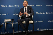 """Executive Chairman of Starbucks Corporation Howard Schultz participates in a discussion at the Atlantic Council May 10, 2018 in Washington, DC. The Atlantic Council held a discussion on """"The Role of a Global Public Company."""""""