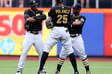 Starling Marte Gregory Polanco Pittsburgh Pirates v New York Mets