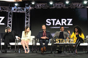 (L-R) Neil Gaiman, Emily Browning, Pablo Schreiber, Orlando Jones and Yetide Badaki of 'American Gods' speak onstage during Starz 2019 Winter TCA Panel & All-Star After Party on February 12, 2019 in Los Angeles, California.