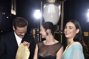 "(L-R) Sam Heughan, Caitriona Balfe, and Sophie Skelton attend the Starz Premiere event for ""Outlander"" Season 5 at Hollywood Palladium on February 13, 2020 in Los Angeles, California."