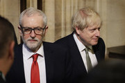 Prime Minister, Boris Johnson and Leader of the Labour Party, Jeremy Corbyn leave after the state opening of parliament at the Houses of Parliament on December 19, 2019 in London, England. In the second Queen's speech in two months, Queen Elizabeth II will unveil the majority Conservative government's legislative programme to Members of Parliament and Peers in The House of Lords.