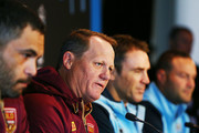 , Queensland Maroons coach Kevin Walters and Captain Greg Inglis (L) speaks to media with New South Wales Blues coach Brad Fittler and Captain Boyd Cordner (R) during a State of Origin media opportunity at Melbourne Cricket Ground on June 4, 2018 in Melbourne, Australia.