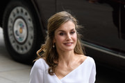 Queen Letizia of Spain arrives at the Francis Crick Institute during a State visit by the King and Queen of Spain on July 14, 2017 in London, England.  This is the first state visit by the current King Felipe and Queen Letizia, the last being in 1986 with King Juan Carlos and Queen Sofia.