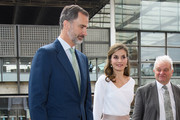 King Felipe (L) and Queen Letizia (C) of Spain arrive at the Francis Crick Institute during a State visit by the King and Queen of Spain on July 14, 2017 in London, England.  This is the first state visit by the current King Felipe and Queen Letizia, the last being in 1986 with King Juan Carlos and Queen Sofia.