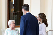 Queen Elizabeth II and Prince Philip, Duke of Edinburgh greet King Felipe VI of Spain and Queen Letizia of Spain during a State visit by the King and Queen of Spain on July 14, 2017 in London, England.  This is the first state visit by the current King Felipe and Queen Letizia, the last being in 1986 with King Juan Carlos and Queen Sofia.