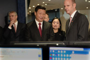 Prince Andrew, Duke of York looks on as Chinese President Xi Jinping views satellite coverage screens in the Network Operation Centre control room with Rupert Pearce, CEO of Inmarsat (R) during a visit to Inmarsat on October 22, 2015 in London, England. The President of the Peoples Republic of China, Mr Xi Jinping and his wife, Madame Peng Liyuan, end a State Visit to the United Kingdom as guests of The Queen.  They stayed at Buckingham Palace and undertook engagements in London and Manchester. The last state visit paid by a Chinese President to the UK was Hu Jintao in 2005.