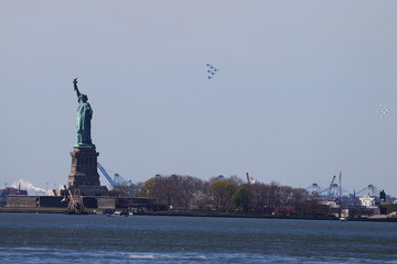 Statue of Liberty Blue Angels And Thunderbirds Do Flying Tribute To NYC COVID-19 Frontline Workers