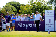 Colin Montgomerie of Scotland in action during Day Four of The Staysure PGA Seniors Championship at The London Club on August 5, 2018 in Ash, England.