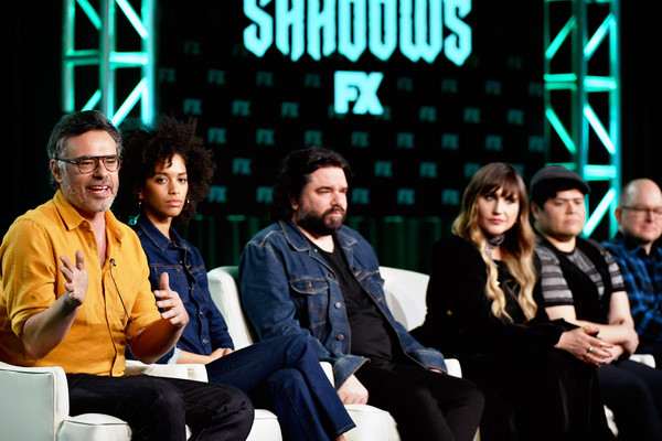 2020 Winter TCA Tour - Day 3 [event,youth,convention,design,team,performance,talent show,conversation,academic conference,stefani robinson,jemaine clement,mark proksch,harvey guillen,matt berry,natasia demetriou,l-r,speak,pasadena,winter tca,natasia demetriou,jemaine clement,mark proksch,stefani robinson,what we do in the shadows,photograph,television,fx]