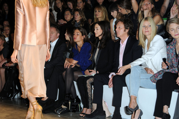 Charlotte Casiraghi (L-R) Francois-Henri Pinault, Charlotte Casiraghi, Nancy Shevell, Paul McCartney, Gwyneth Paltrow and Charlotte Rampling attend the Stella McCartney Pret a Porter show as part of the Paris Womenswear Fashion Week Spring/Summer 2010 at Palais De Tokyo on October 5, 2009 in Paris, France.