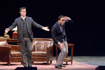 Stephen Colbert Jimmy Fallon Jimmy Fallon and Stephen Colbert Speak in Newark