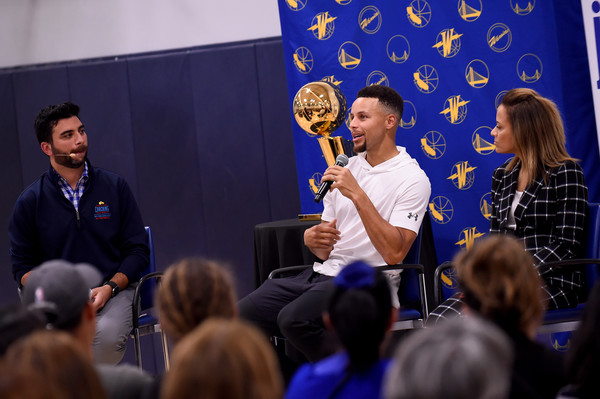 2017-18 NBA Community Events [blue,event,speech,public speaking,spokesperson,job,conversation,academic conference,convention,recreation,stephen curry,user,user,sonya curry,nbae,note,coaching,clinic,nba,community events]