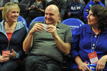 Steve Ballmer Celebrities At The Los Angeles Clippers Game