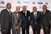 (L-R) Steve Harvey Foundation co-chairs Raymond McGuire, Russell Simmons, Steve Harvey, Steve Stoute and Geoffrey Canada attend the 2nd annual Steve Harvey Foundation Gala at Cipriani, Wall Street on April 4, 2011 in New York City.