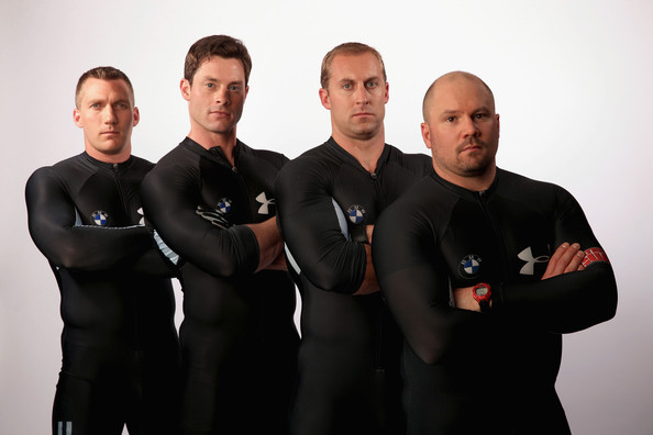 Steve Langton (L-R) Bobsledders Chris Fogt, Steve Langton, Curt Tomasevicz and Steve Holcomb pose for a portrait during the USOC Media Summit ahead of the Sochi 2014 Winter Olympics on September 29, 2013 in Park City, Utah.