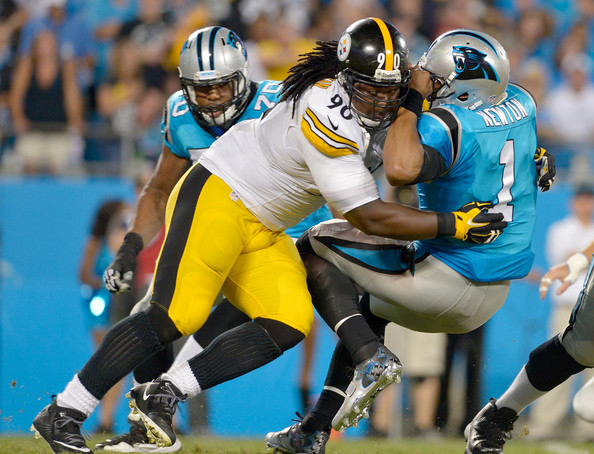 Steve McLendon Steve McLendon #90 of the Pittsburgh Steelers sacks Cam Newton #1 of the Carolina Panthers during their game at Bank of America Stadium on September 21, 2014 in Charlotte, North Carolina.