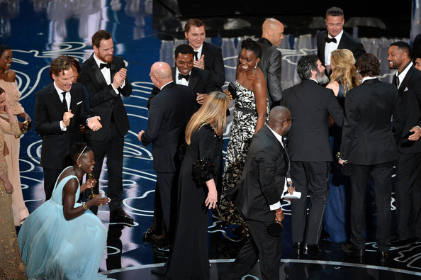 86th Annual Academy Awards Show [steve mcqueen,john ridley,chiwetel ejiofor,brad pitt,adepero oduye,actors,producers,award,5r,event,crowd,fashion,bodyguard,ceremony,audience,suit,formal wear,performance,annual academy awards show]
