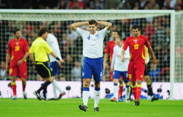 Steven Gerrard Steven Gerrard of England shows his frustration during the UEFA EURO 2012 Group G Qualifying match between England and Montenegro at Wembley Stadium on October 12, 2010 in London, England.