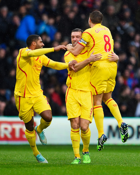 Crystal Palace v Liverpool - Premier League [player,sports,soccer player,sports equipment,team sport,ball game,football player,football,sport venue,soccer,rickie lambert,steven gerrard,glen johnson,goal,liverpool,crystal palace,selhurst park,england,premier league,match]