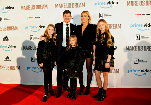 'Make Us Dream' Liverpool Premiere - Red Carpet Arrivals [make us dream,red carpet,carpet,red,event,premiere,fashion,flooring,technology,award,red carpet arrivals,daughters,steven,lexie,fact,liverpool,lourdes,premiere,premiere of make us dream]