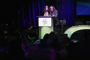 Chelsea Tyler (L) and Steven Father speak onstage at Steven Tyler and Live Nation presents Inaugural Janie's Fund Gala & GRAMMY Viewing Party at Red Studios on January 28, 2018 in Los Angeles, California.