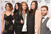 """(L-R) Chelsea Tyler, Mia Tyler, Steven Tyler, Liv Tyler and Taj Tallarico attend """"Steven Tyler...Out on a Limb"""" Show to Benefit Janie's Fund in Collaboration with Youth Villages - Red Carpet at David Geffen Hall on May 2, 2016 in New York City."""