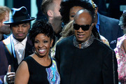 Recording artists Gladys Knight (L) and honoree Stevie Wonder perform onstage during Stevie Wonder: Songs In The Key Of Life - An All-Star GRAMMY Salute at Nokia Theatre L.A. Live on February 10, 2015 in Los Angeles, California.