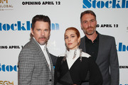 """(L-R) Actors Ethan Hawke and Noomi Rapace pose with director Robert Budreau at the """"Stockholm"""" New York Premiere at Museum of Modern Art on April 11, 2019 in New York City."""