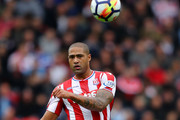 Glen Johnson of Stoke in action during the Premier League match between Stoke City and Chelsea at Bet365 Stadium on September 23, 2017 in Stoke on Trent, England.