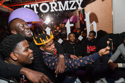 (L-R) Casanova, Stormzy and DJ Whoo Kid pose for a selfie during the Stormzy Heavy Is the Head Album Event on January 13, 2020 in New York City.