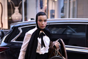 Olympic fencer Ibtihaj Muhammad is seen wearing a black and white outfit outside the Christian Siriano show during New York Fashion Week Autumn Winter 2019 on February 08, 2019 in New York City.