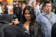 Vanessa Hudgens is seen wearing a Carolina Herrera outfit outside the Carolina Herrera show during New York Fashion Week S/S20 on September 09, 2019 in New York City.