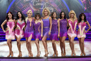 BIRMINGHAM, ENGLand - JANUARY 21:  Female dancers and celebrities pose during Photocall for the Strictly Come Dancing Live Tour 2016 at Barclaycard Arena on January 21, 2016 in Birmingham, England.