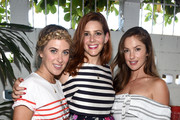 """(L-R)  Ashley Streicher, Rebecca Feferman, Head of SXsports and actress Minka Kelly attend a celebration with Striiike and Caudalie for """"The French Beauty Solution"""" on Bastille Day at Striiike on July 14, 2015 in Beverly Hills, California."""